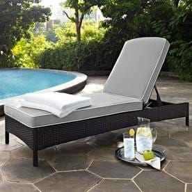 Crosley Furniture Palm Harbor Wicker Steel Chaise Lounge Chair With Grey Cushion