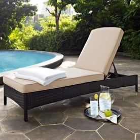 Crosley Furniture Palm Harbor Wicker Metal Stationary Chaise Lounge Chair S With Sand Cushioned