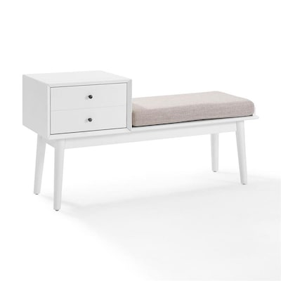 Super Crosley Furniture Landon Midcentury White Accent Bench At Beatyapartments Chair Design Images Beatyapartmentscom