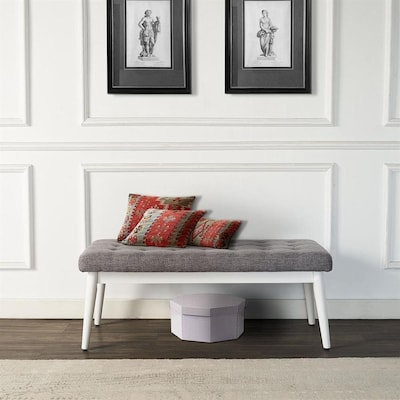 Cool Crosley Furniture Landon Midcentury White Accent Bench At Beatyapartments Chair Design Images Beatyapartmentscom