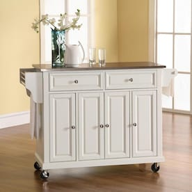 Crosley Furniture White Composite Base With Wood Butcher Block Top Kitchen Island 23 In X 48 In X 36 In In The Kitchen Islands Carts Department At Lowes Com