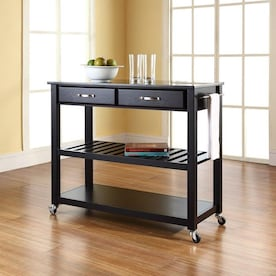 Crosley Furniture Black Composite Base With Wood Top Kitchen Cart 18 In X 43 In X 35 In In The Kitchen Islands Carts Department At Lowes Com