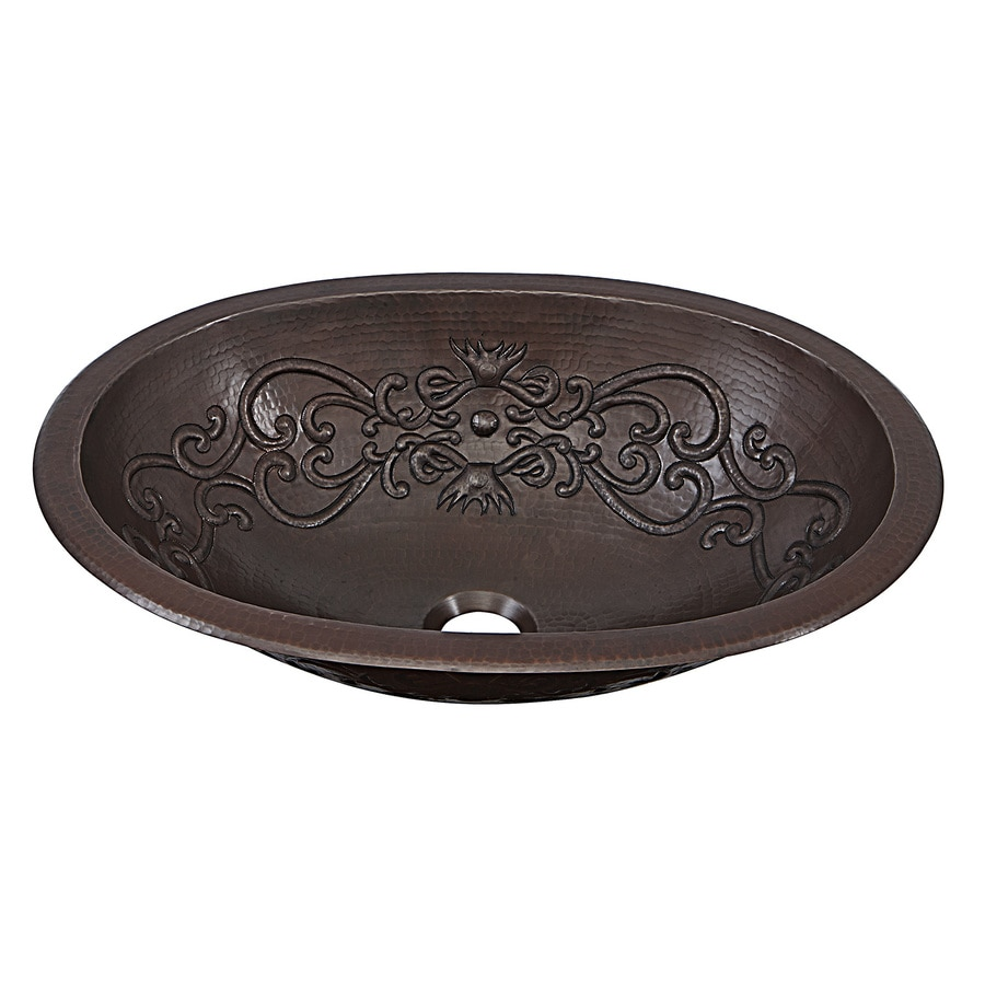 unique undermount bathroom sinks shop sinkology aged copper drop in or undermount oval 21165
