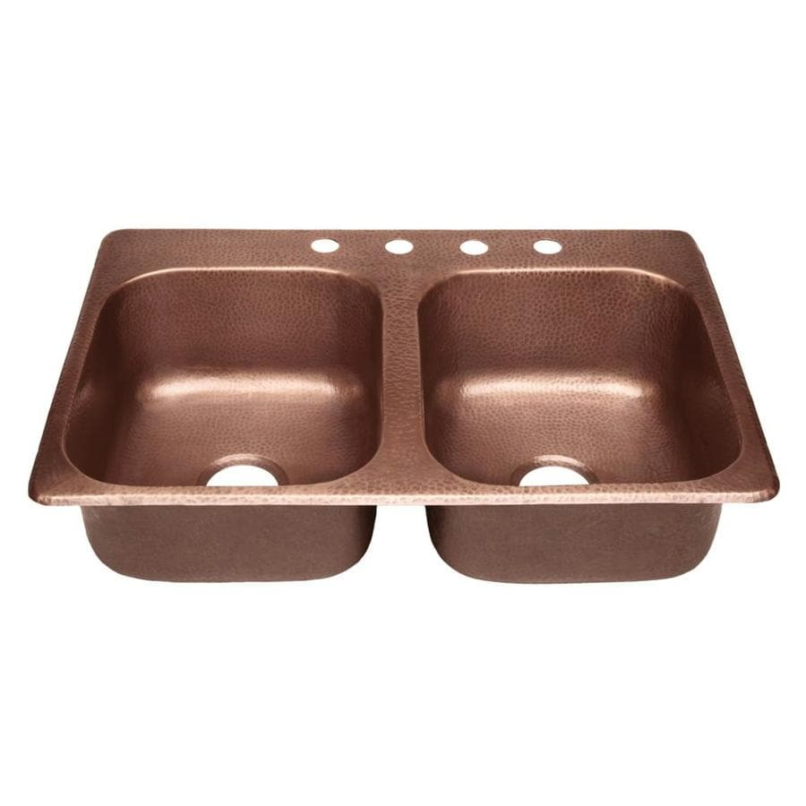 SINKOLOGY Raphael 33-in x 22-in Antique Copper Double-Basin Copper Drop-in 4-Hole Commercial/Residential Kitchen Sink