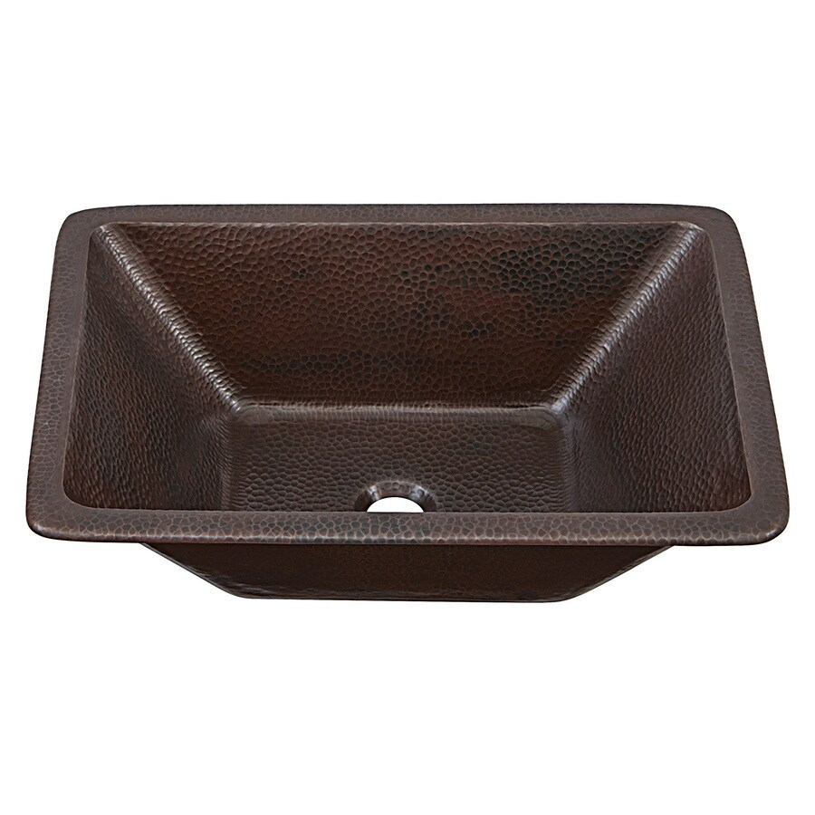 Shop sinkology aged copper drop in or undermount for Rectangular copper bathroom sink
