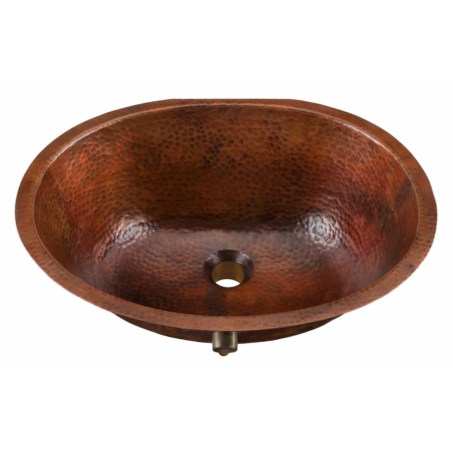 SINKOLOGY Aged Copper Drop In Or Undermount Oval Bathroom Sink