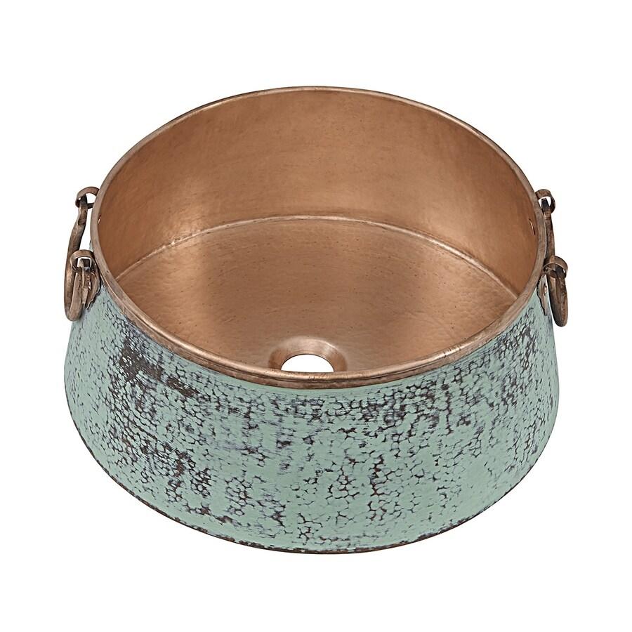 SINKOLOGY Naked Copper Copper Vessel Round Bathroom Sink