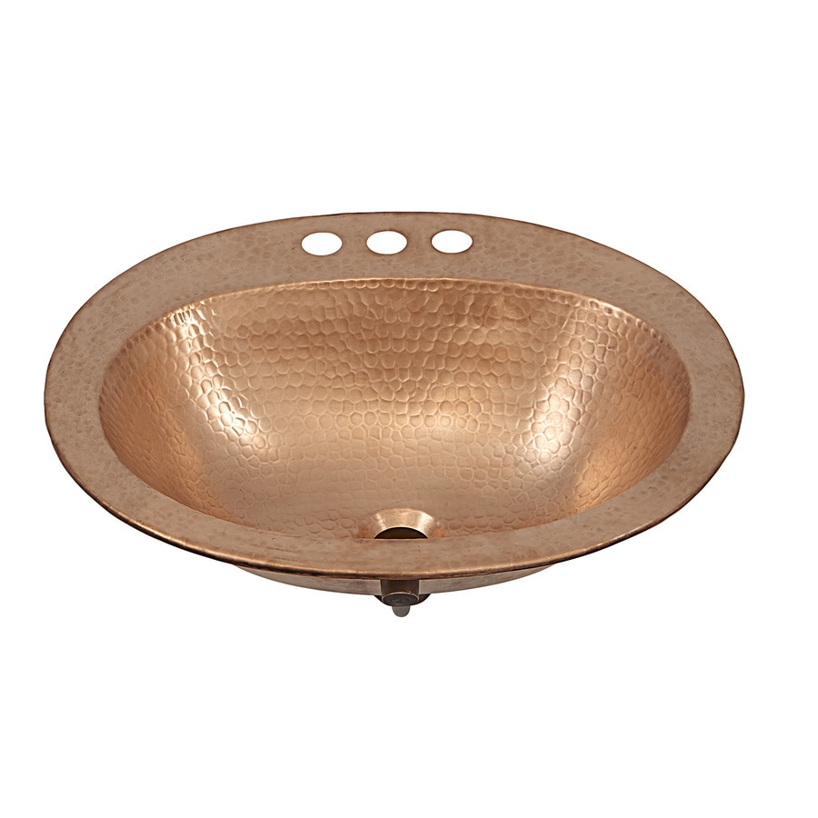 SINKOLOGY Naked Copper Drop-in Oval Bathroom Sink with Overflow