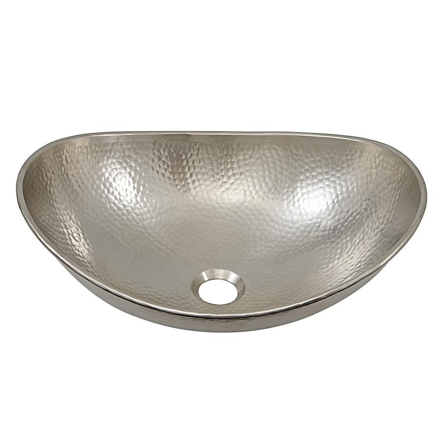 Shop Sinkology Hobbes Hammered Nickel Vessel Oval Bathroom