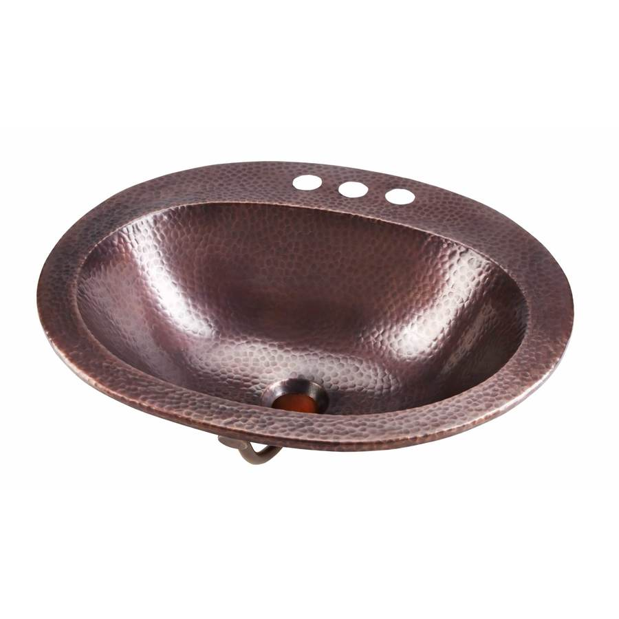 SINKOLOGY Rutherford Antique Copper Drop-in Oval Bathroom Sink with Overflow