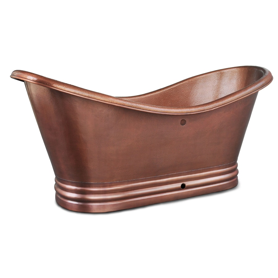 SINKOLOGY 71.5-in Hammered Antique Copper Copper Freestanding Bathtub with Center Drain