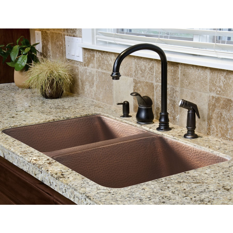 SINKOLOGY 18.25 x 32.25 Hammered Antique Copper Single-Basin Undermount None (customizable)-Hole Commercial Kitchen Sink
