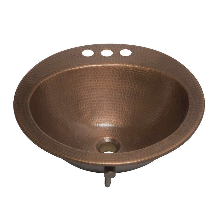 Shop sinkology bell antique copper drop in round bathroom - Copper drop in kitchen sink ...