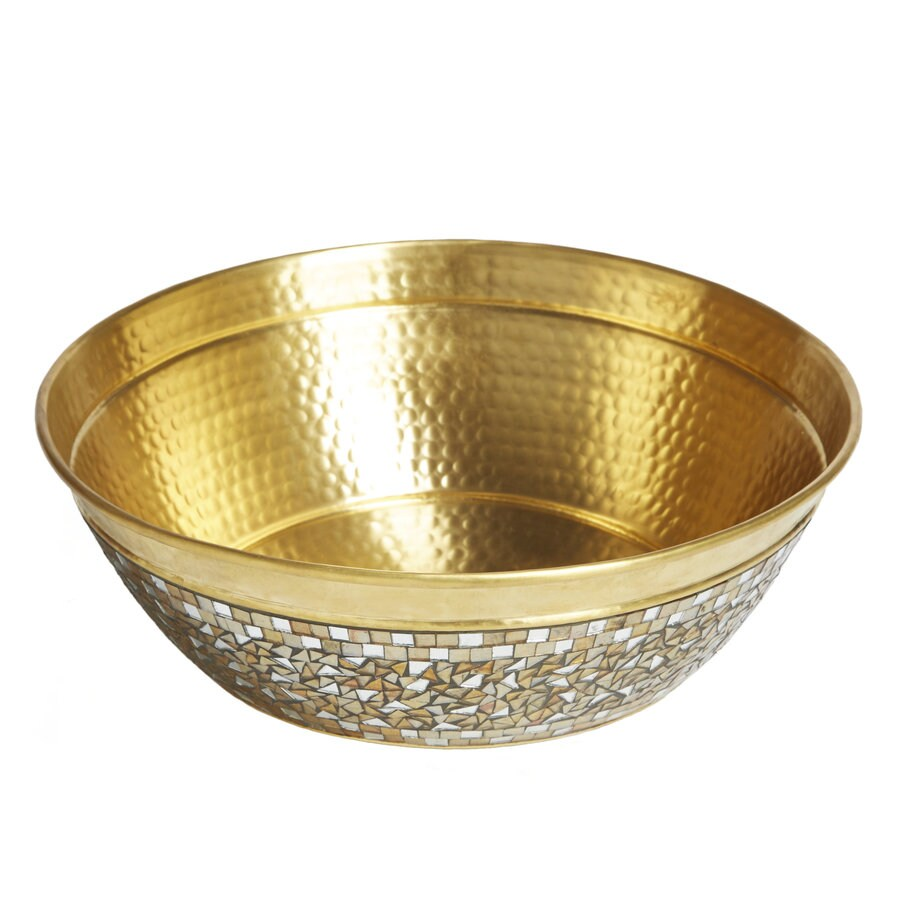 SINKOLOGY Shockley Champagne Brass Vessel Round Bathroom Sink