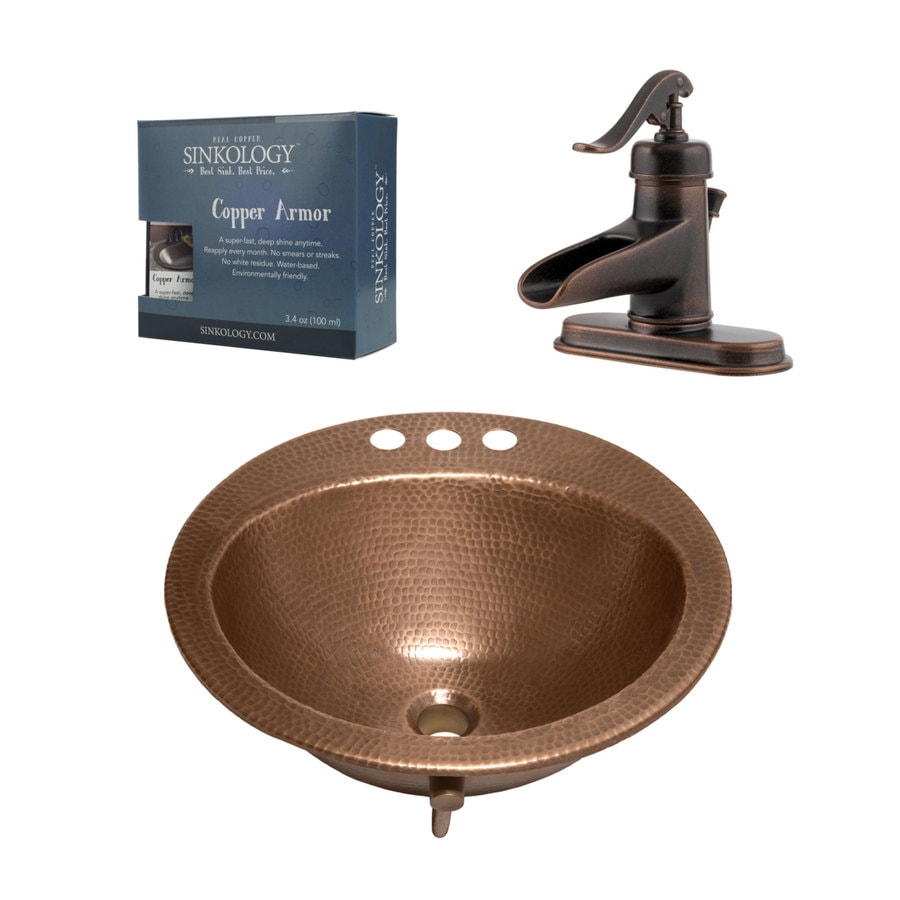 Copper drop in bathroom sink