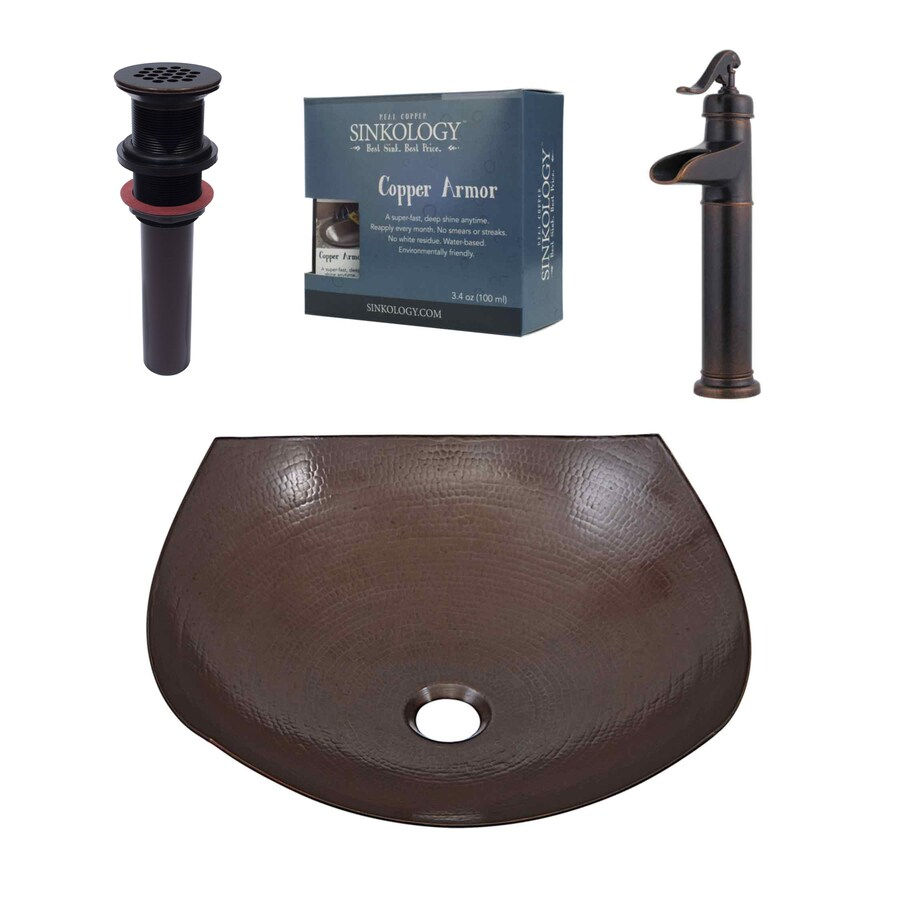 SINKOLOGY Aged Copper Round Vessel Bathroom Sink with Faucet (Drain Included)