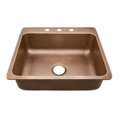 SINKOLOGY 25-in x 22-in Hammered Antique Copper Single-Basin ...