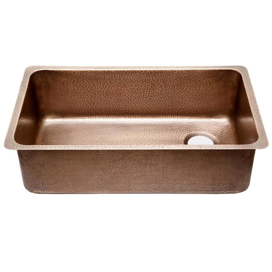 SINKOLOGY 18.25 x 31.25 Hammered Antique Copper Single-Basin Undermount None (customizable)-Hole Commercial Kitchen Sink