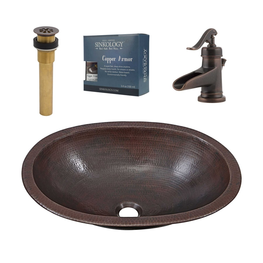 Sinkology Aged Copper Drop In Or Undermount Oval Bathroom