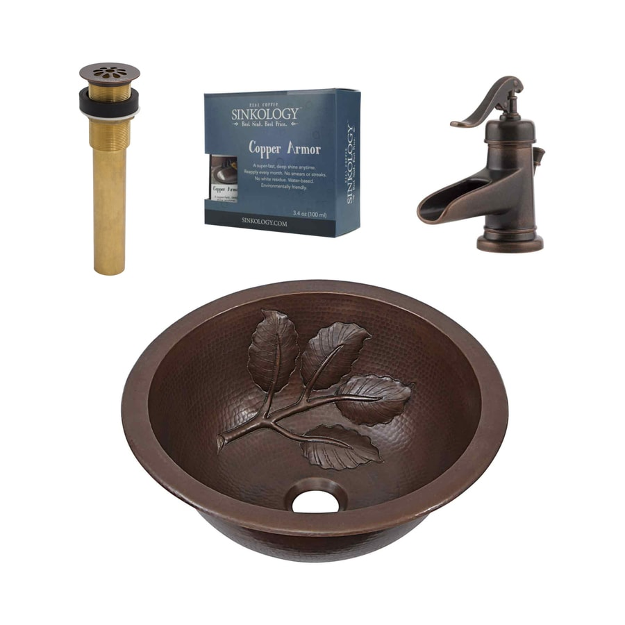 Shop Sinkology Aged Copper Drop In Or Undermount Round Bathroom Sink With Faucet Drain Included