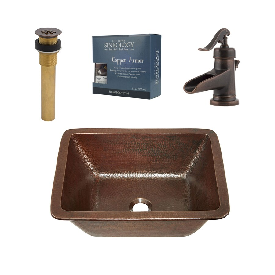 Shop sinkology aged copper rectangular drop in or - Copper drop in kitchen sink ...