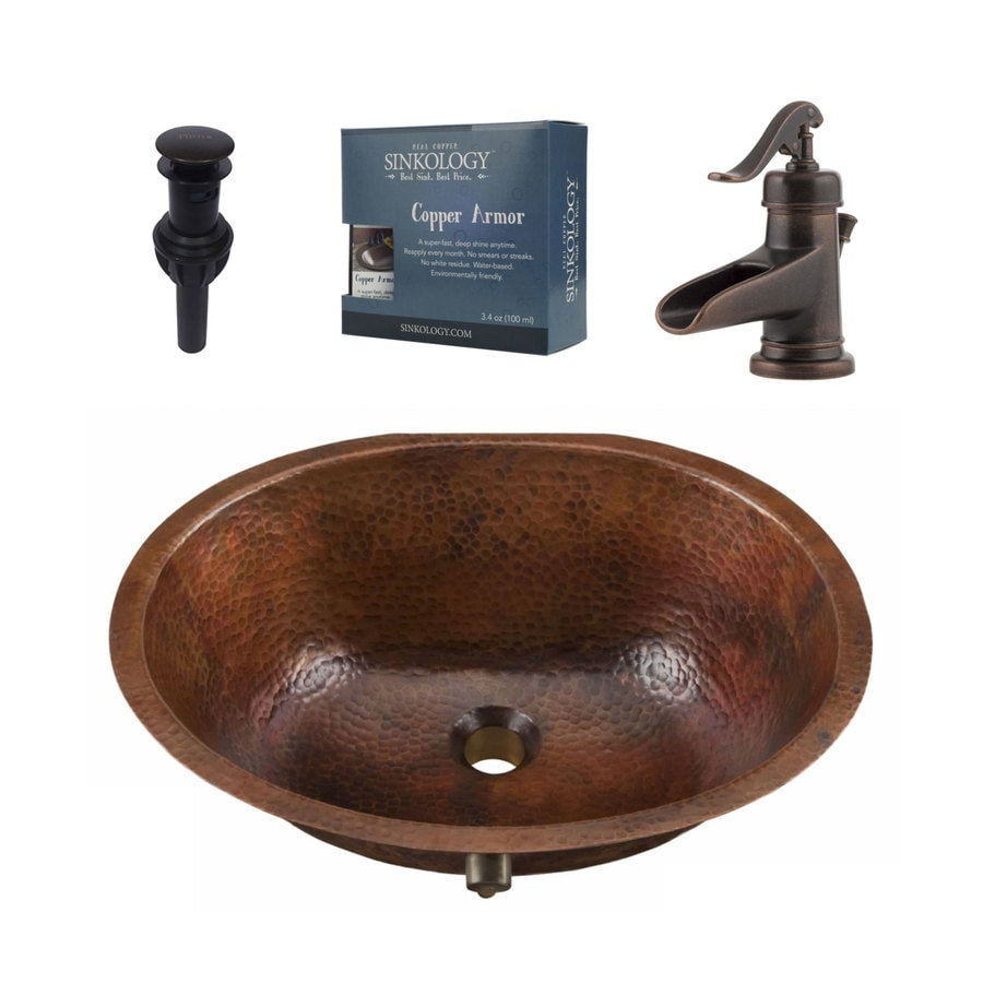 Sinkology Aged Copper Undermount Oval Bathroom Sink With