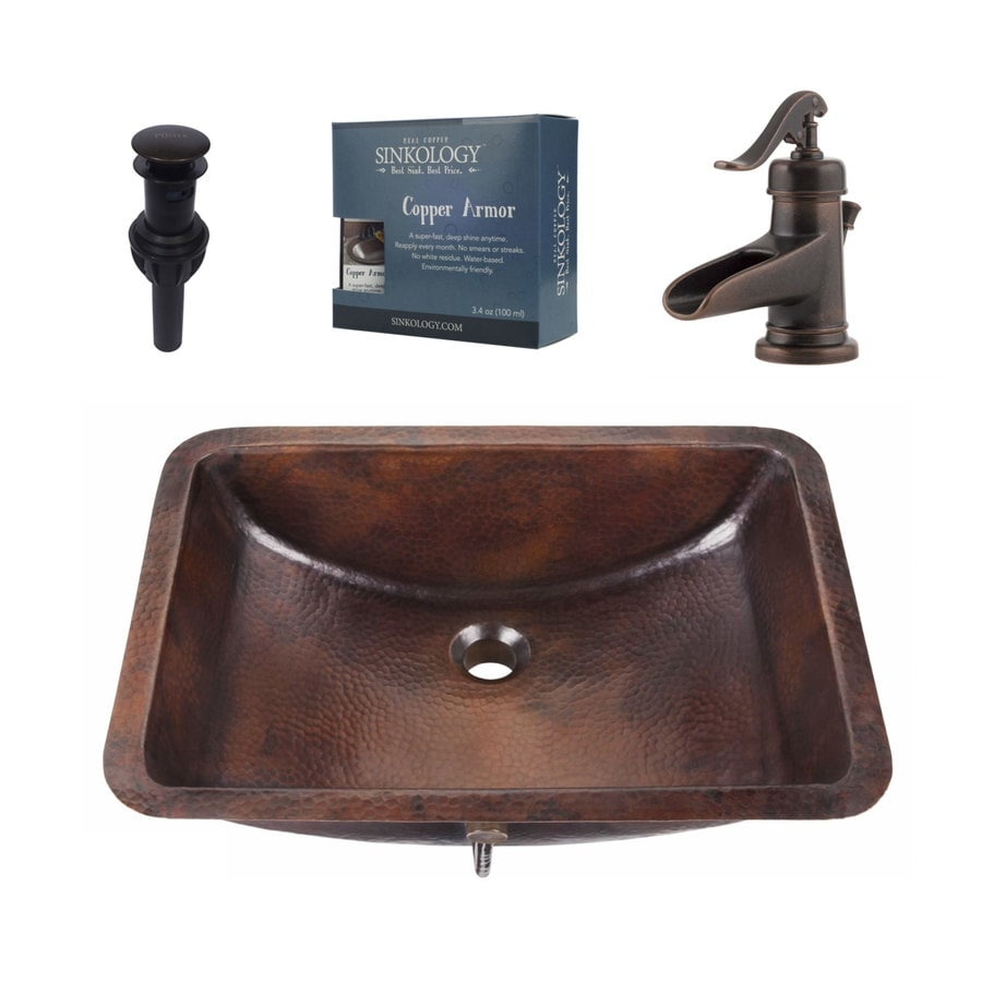 SINKOLOGY Aged Copper Undermount Rectangular Bathroom Sink with Faucet and Overflow Included