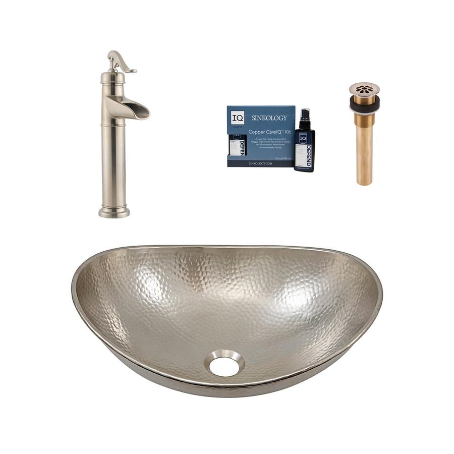 SINKOLOGY Nickel Vessel Oval Bathroom Sink with Faucet (Drain Included)