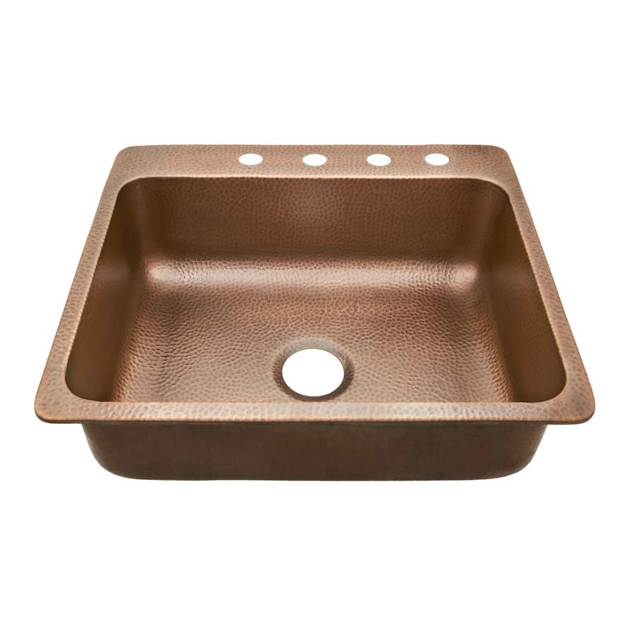 Shop sinkology 22 x 25 hammered antique copper single - Copper drop in kitchen sink ...