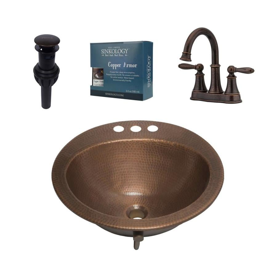 Shop SINKOLOGY Antique Copper Round Drop-In Bathroom Sink with ...