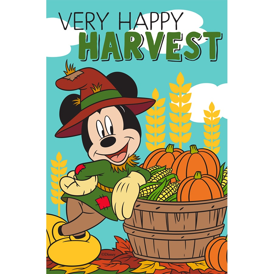 Disney Mickey Happy Harvest Flag W/Stand