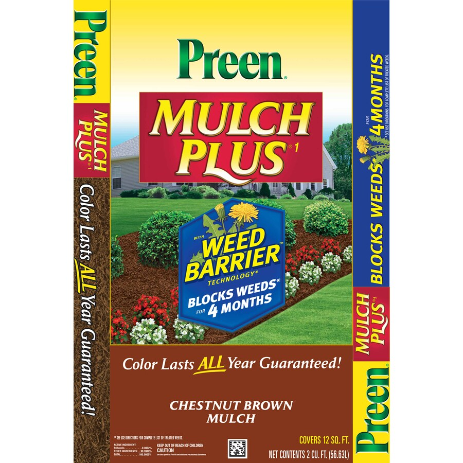 Preen 2-cu ft Dark Brown Shredded Mulch