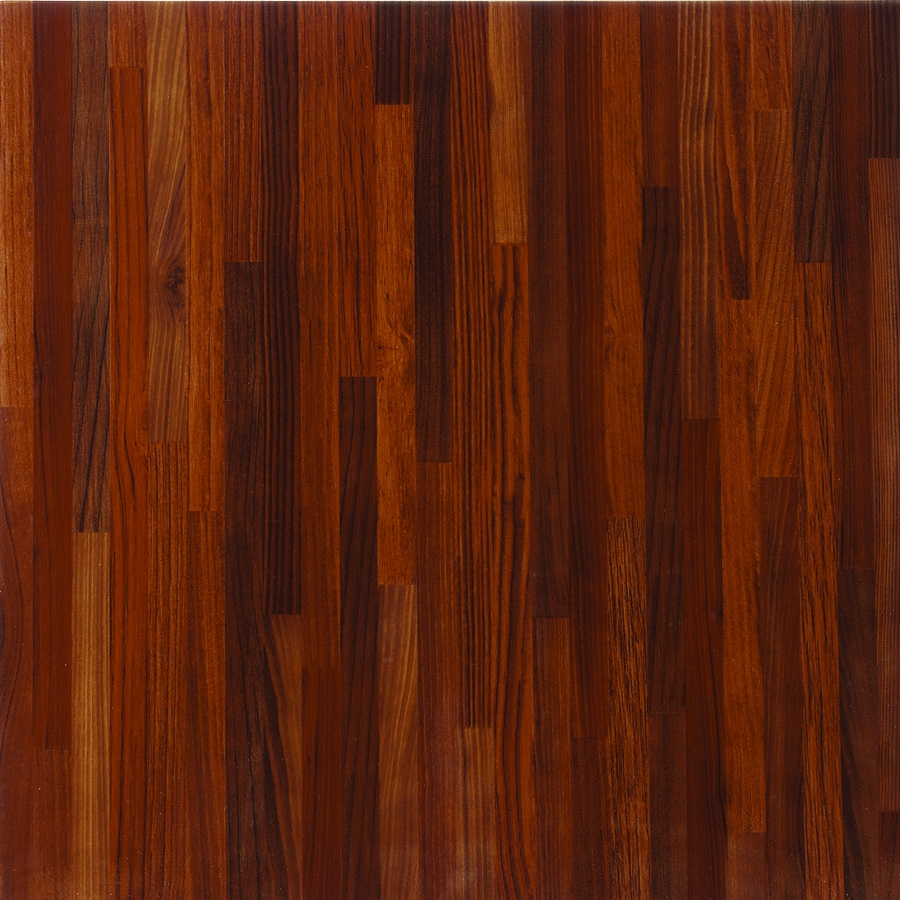 Shop porcelanite red wood look ceramic floor tile common for Hardwood floor panels