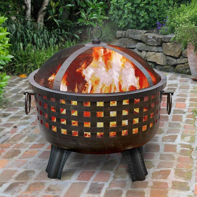Landmann Usa Garden Lights 28 5 In W Antique Bronze Steel Wood Burning Fire Pit In The Wood Burning Fire Pits Department At Lowes Com