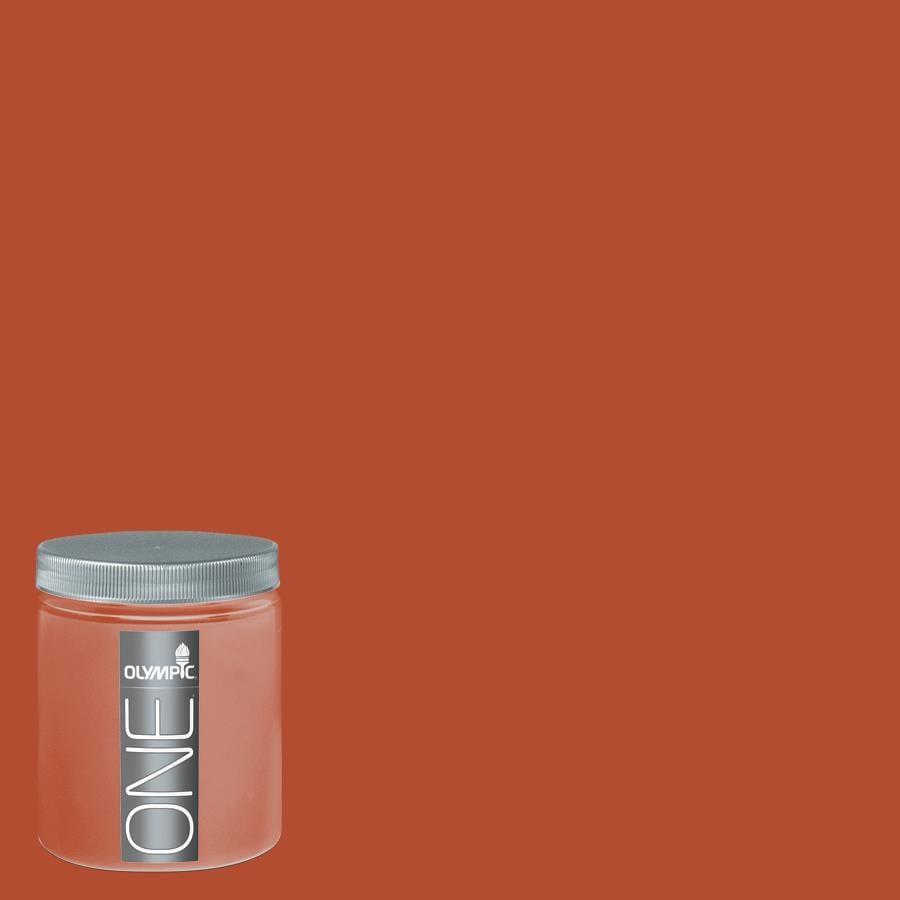 Olympic 8 Oz Orange Vermillion Interior Satin Paint Sample