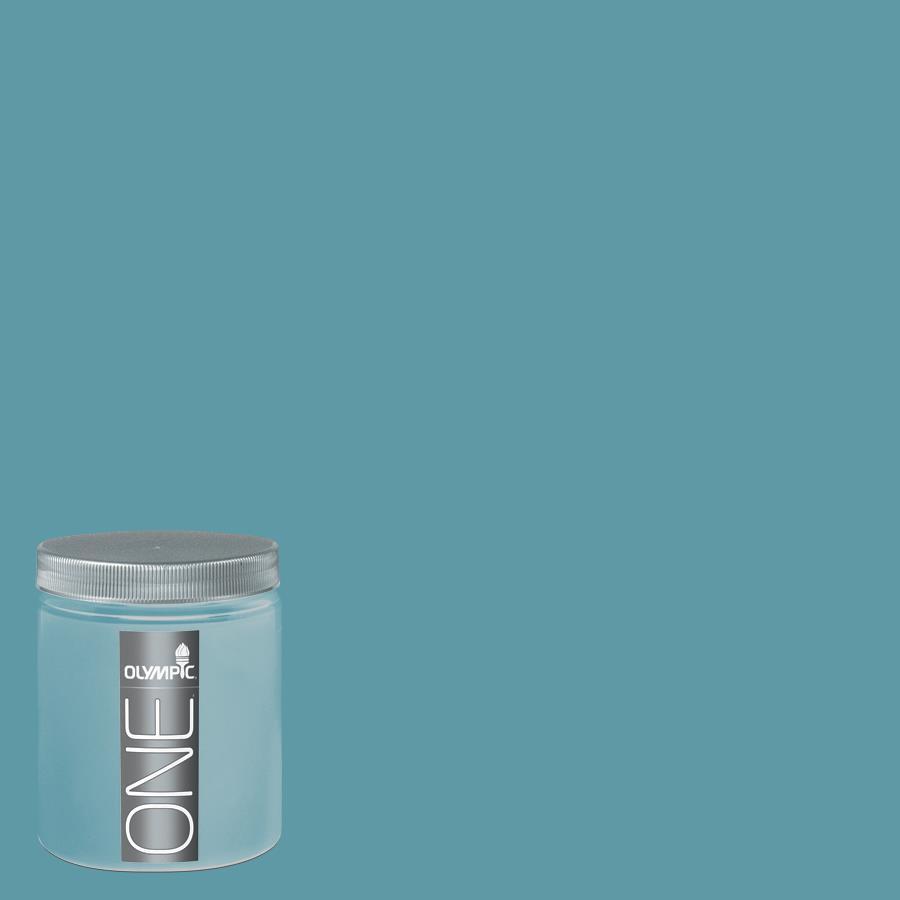 Olympic 8-oz Aqua Blue Interior Satin Paint Sample