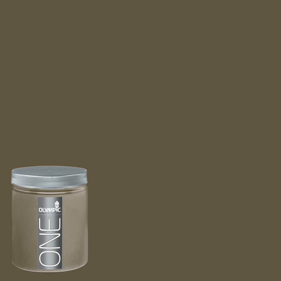 Olympic 8 Oz Olive Green Interior Satin Paint Sample