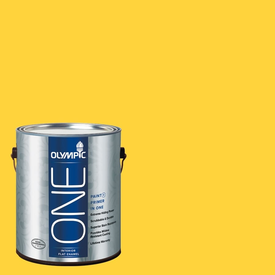 Olympic ONE Acorn Squash Flat Latex Interior Paint and Primer In One (Actual Net Contents: 114-fl oz)
