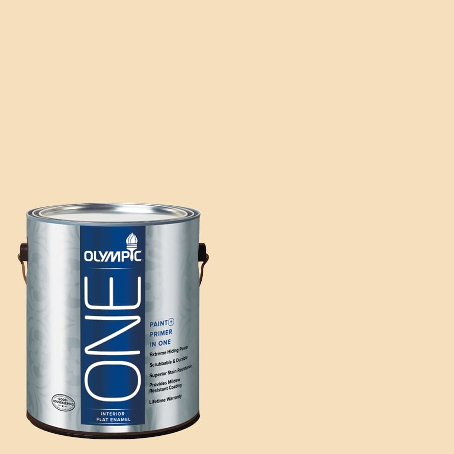 Olympic ONE Winter Wheat Flat Latex Interior Paint and Primer In One (Actual Net Contents: 124-fl oz)