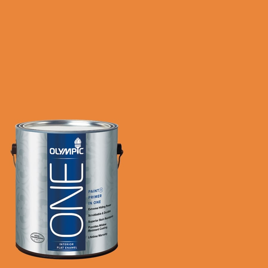 Olympic ONE Pumpkin Pleasure Flat Latex Interior Paint and Primer In One (Actual Net Contents: 114-fl oz)