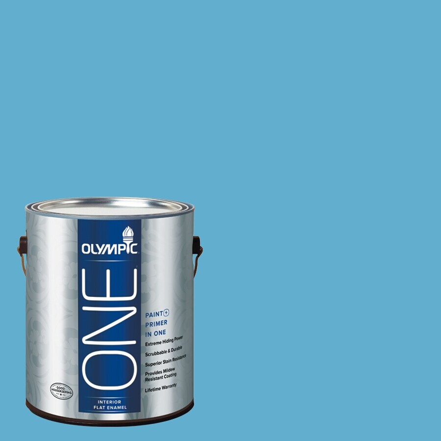 Olympic ONE Salem Blue Flat Latex Interior Paint and Primer In One (Actual Net Contents: 116-fl oz)