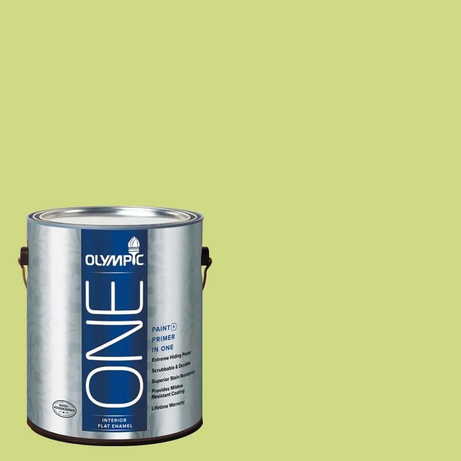 Olympic ONE Yellow Lettuce Flat Latex Interior Paint and Primer In One (Actual Net Contents: 116-fl oz)