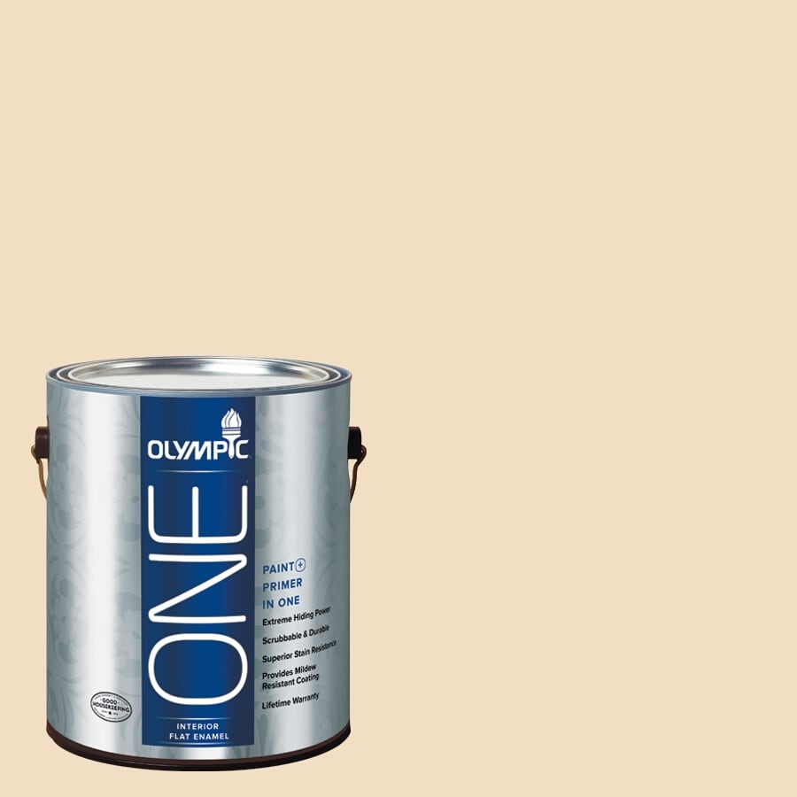 Olympic ONE HONEy Beige Flat Latex Interior Paint and Primer In One (Actual Net Contents: 124-fl oz)