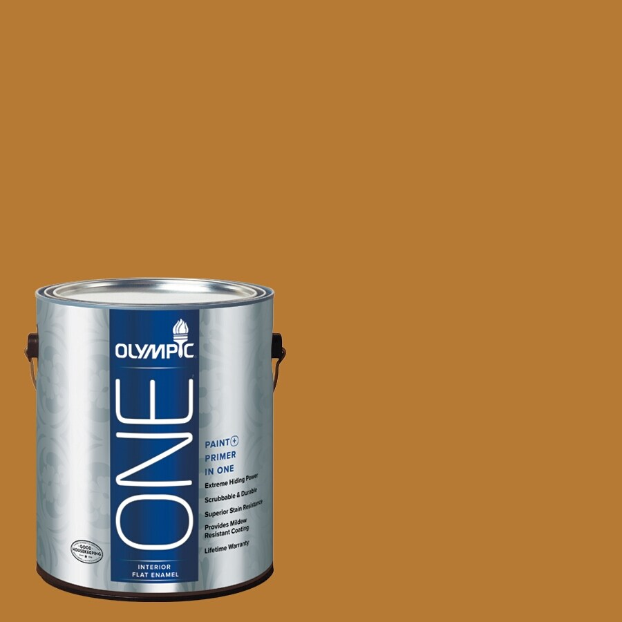 Olympic ONE Cider Toddy Flat Latex Interior Paint and Primer In One (Actual Net Contents: 114-fl oz)
