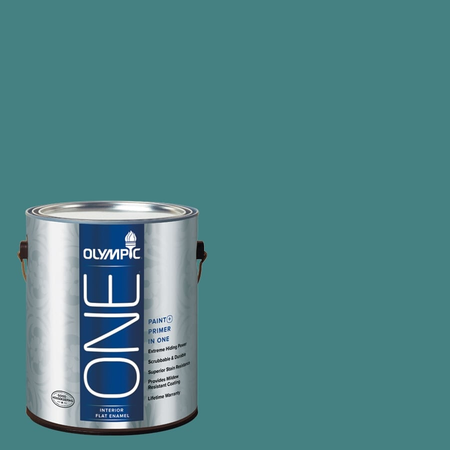 Olympic ONE Teal Zeal Flat Latex Interior Paint and Primer In One (Actual Net Contents: 114-fl oz)