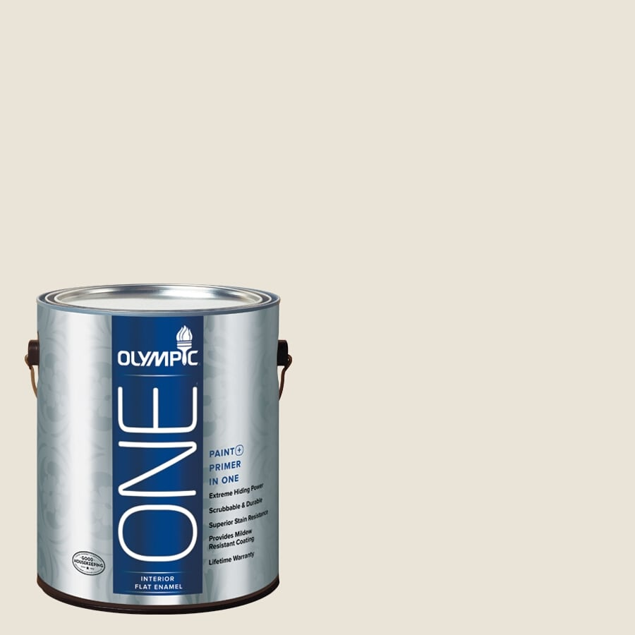 Olympic ONE Colonial White Flat Latex Interior Paint and Primer In One (Actual Net Contents: 124-fl oz)
