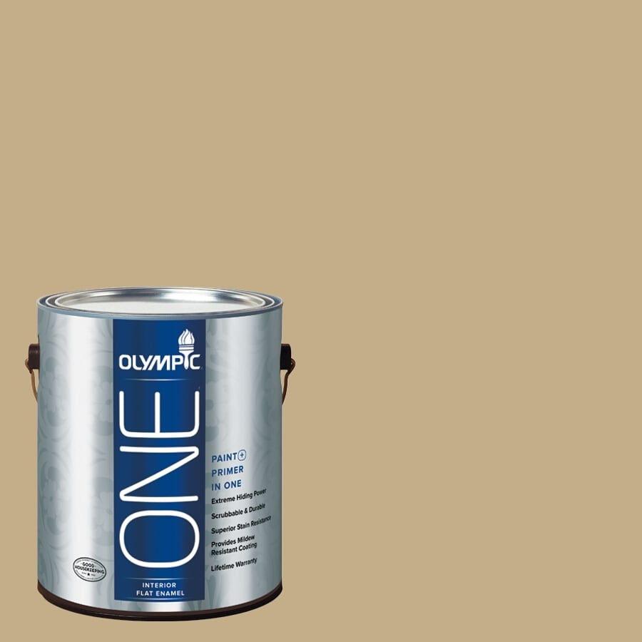 Olympic ONE Earthy Cane Flat Latex Interior Paint and Primer In One (Actual Net Contents: 116-fl oz)