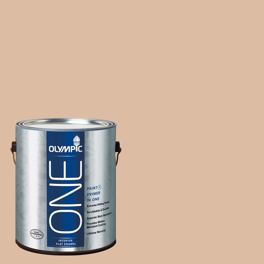 Olympic ONE Weathered SandstONE Flat Latex Interior Paint and Primer In One (Actual Net Contents: 124-fl oz)