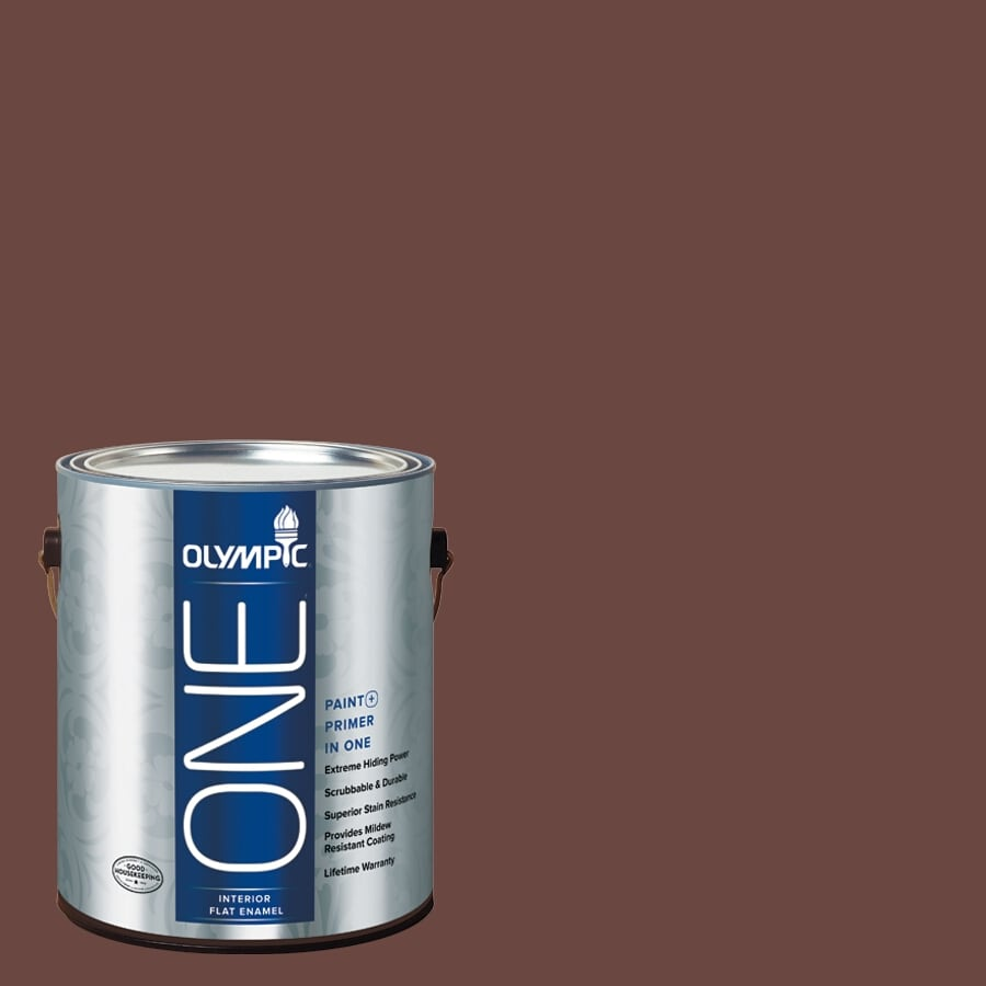 Olympic ONE Warm Mahogany Flat Latex Interior Paint and Primer In One (Actual Net Contents: 114-fl oz)