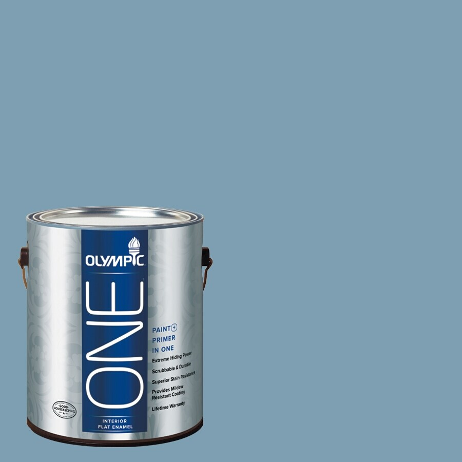 Olympic ONE Feelin-ft Blue Flat Latex Interior Paint and Primer in One (Actual Net Contents: 116-fl oz)